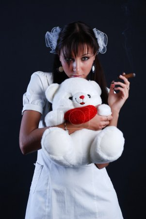 Beauty woman with bear and cigar