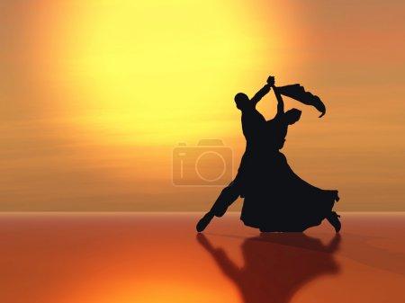 Photo pour Danse à la lumière du soleil couchant. - image libre de droit