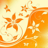 Vector flower background with butterfly