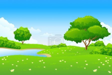 Illustration for Green landscape with lake trees and clouds - Royalty Free Image