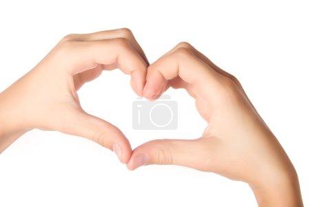 Photo pour Mains humaines, formant en forme de cœur isolé sur fond blanc - image libre de droit