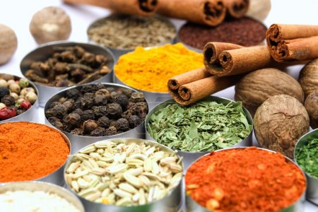 Assortment of various aromatic spices used for sea...