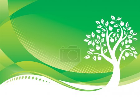 Illustration for Green Tree background, Vector illustration layered file. - Royalty Free Image