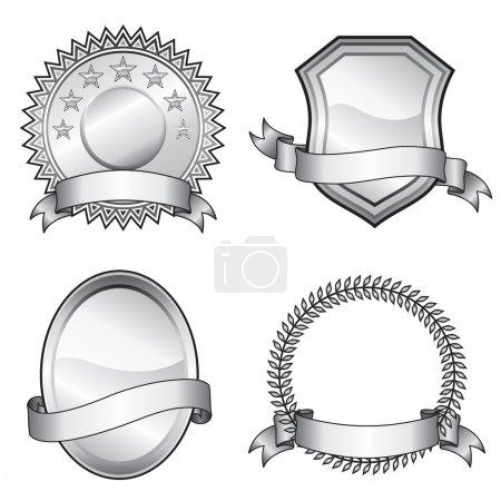 Illustration for Black and white vector format of emblem elements. - Royalty Free Image