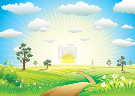 Illustration for Sunny Meadow landscape of vector illustration layered. - Royalty Free Image