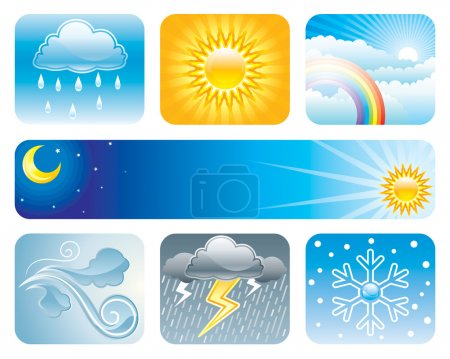 Illustration for Set of Weather and Climate vector illustration layered. - Royalty Free Image