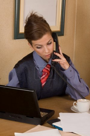 Businesswoman call at office