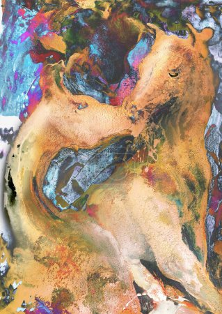 Photo pour Têtes de chevaux, c'est peinture à l'huile sur toile et je suis auteur de cette image - image libre de droit