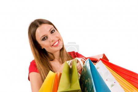 Photo for Beautiful shopping woman with colorful bags. - Royalty Free Image
