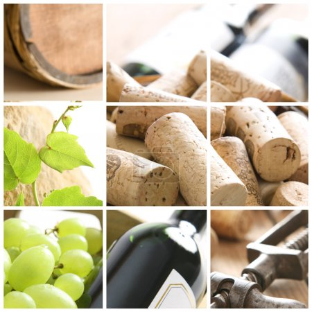 Wine, grape, corks and corkscrew
