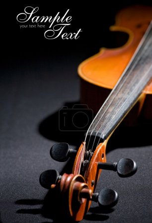 Old violin. Space for text isolated on b