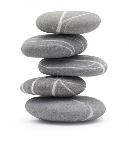 Photo for Balancing stones isolated on a white - Royalty Free Image