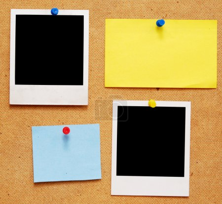 Photo for Empty photo frames and notes on wooden background - Royalty Free Image