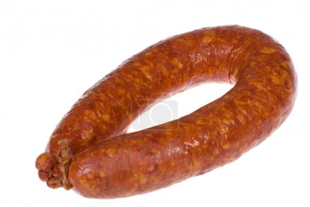 Smoked sausage isolated over a white background...