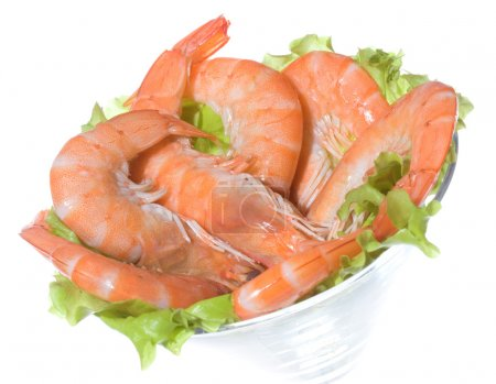 Photo for Cocktail with shrimps on white background - Royalty Free Image