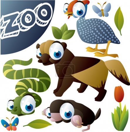 Zoo vector set: fowl, wolverine, snake, mole, butterfly