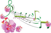 Musical stave with flowers
