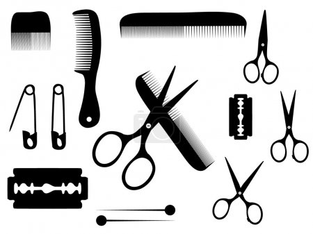 Illustration for Barber or hairdresser accessories - Royalty Free Image