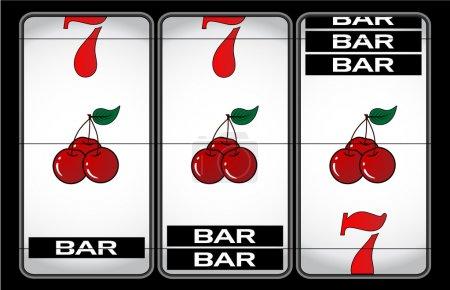 Illustration pour Lucky sept machine à sous vectoriel illustration - image libre de droit