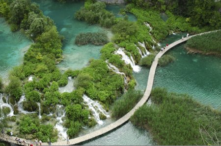 Aerial View of Plitvice national park.