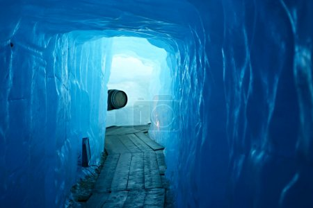Tunnel in the ice inside Rhone glacier