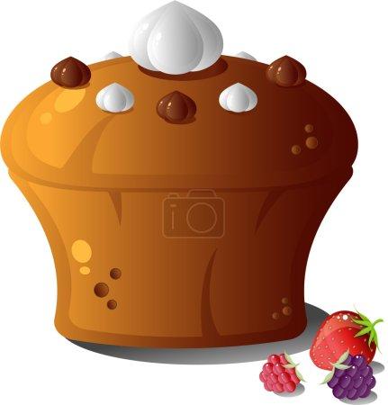 Illustration pour Gâteau et baies sur blanc - image libre de droit