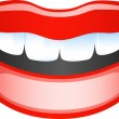 Vector image smiling female lips. Isolated on whit...