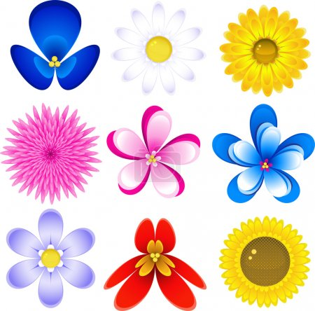 Illustration for Icon set with 9 different flowers, isolated. EPS 8, AI, JPEG - Royalty Free Image