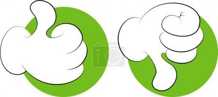 Illustration pour Mains, bonnes, mauvaises, signes, isolées. SPE 8, AI, JPEG - image libre de droit