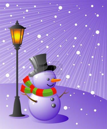 Bonhomme de neige se tient sous une lampe sur un e neigeux