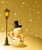 Snowman stands under a lamp on a snowy evening EPS 8 AI JPEG