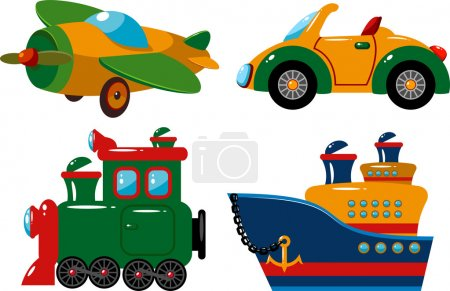 Illustration for Set of vehicles: plane, car, train and ship. Over white. EPS 8, JPEG, AI - Royalty Free Image