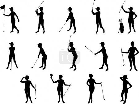Golf girl silhouettes