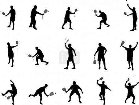 Racket ball silhouettes
