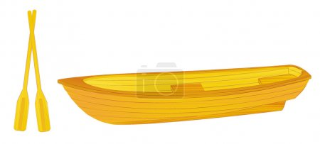 Wooden rowing boat illustration