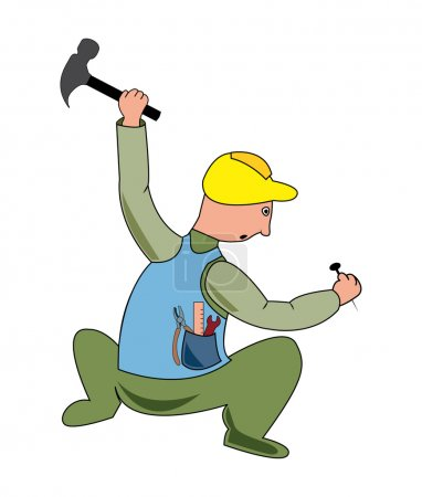 Cartoon illustration of a workman