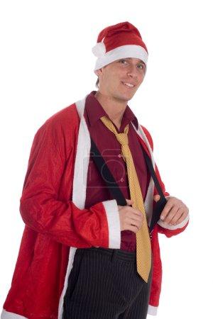 Businessman wearing a Santa Claus hat