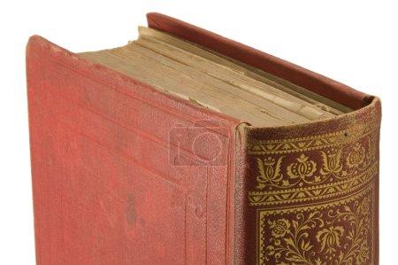 Photo pour Détail très ancienne de livre (publié en 1895) avec fond blanc. - image libre de droit