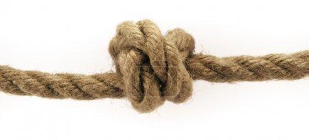 Photo pour Détail du double noeud overhand isolé sur blanc . - image libre de droit