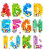 Colorful decorated spring or summer full alphabet set part 1 letters A - L isolated on white background with design elements