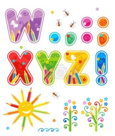 Foto de Una decoración colorida primavera o verano alfabeto completo conjunto, parte 3, las letras w - z, marcas de puntuación, aislado sobre fondo blanco - Imagen libre de derechos