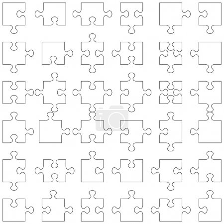 Illustration for Accurate transparent contours of popular design elements - jigsaw puzzle pieces. Set of 36 various shapes fitting each other. - Royalty Free Image