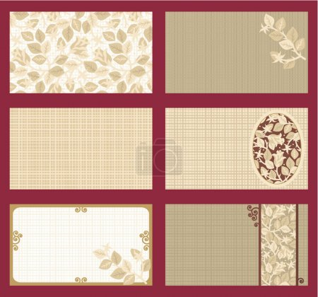 Illustration for Business cards templates set of six with rose floral patterns and fabric texture, horizontal, tan, brown, gold - Royalty Free Image