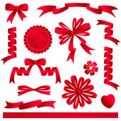 Red ribbon embellishments or design elements - bows banners award heart flower