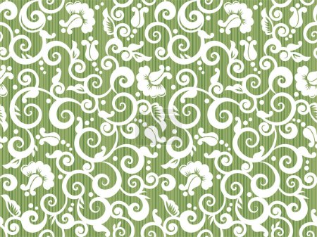 Illustration for Floral white and green repeat pattern, or seamless wallpaper, else tilable background - Royalty Free Image