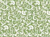 Floral white and green repeat pattern or seamless wallpaper else tilable background