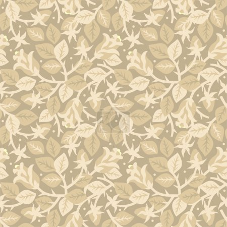 Illustration for Easy tilable (you see 4 tiles) blooming rosebush floral seamless repeat pattern (print, background, wallpaper) of pastel beige colors - Royalty Free Image