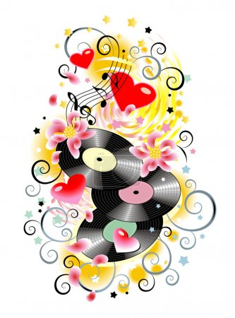 Music splash with vinyl records