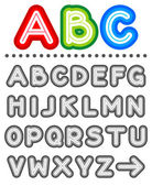 Line letters alphabet set part 1 letters A - Z shades of gray - add color of your choice