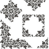 Decorative floral pattern abstract design elements with rosebuds and butterflies